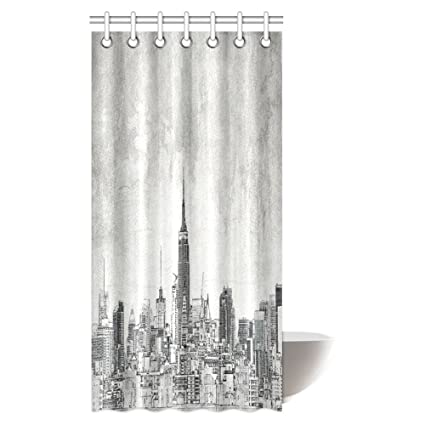 InterestPrint American Shower Curtain Cosmopolitan New York City Skyline With Iconic Skyscrapers And High Buildings