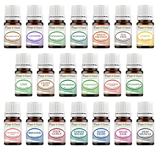 Aromatherapy Top 20 Essential Oil Set 5 ml. Pure Therapeutic Grade Kit 14 Singles - 6 Blends (5 ml.) (Oils Sampler Grade Food Essential)