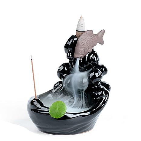 Amazon.com: synpie quemador de incienso de cerámica peces ...