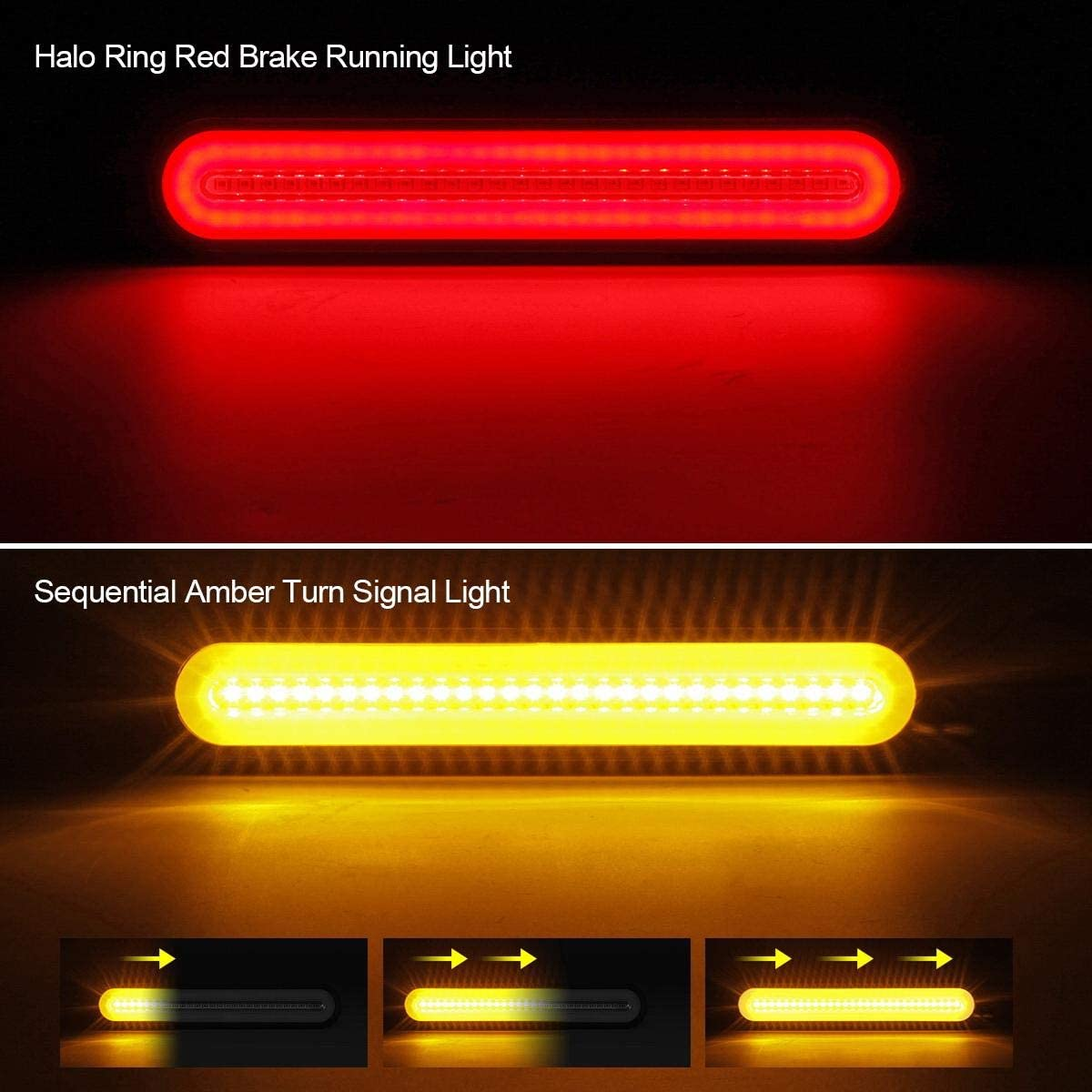 100LED Red//Amber 2Pack Sequential Amber Turn Signal Tail Light for RV Truck Boat RV Trailer Pickup SUV Brake FXC Trailer Tail Light Bar 9inch 3 in 1 Running