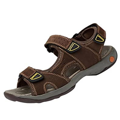 f75e0371c8ae3 Cemarssi Men's Leather Sports Sandals Fisherman Breathable Sport Beach  Sandals