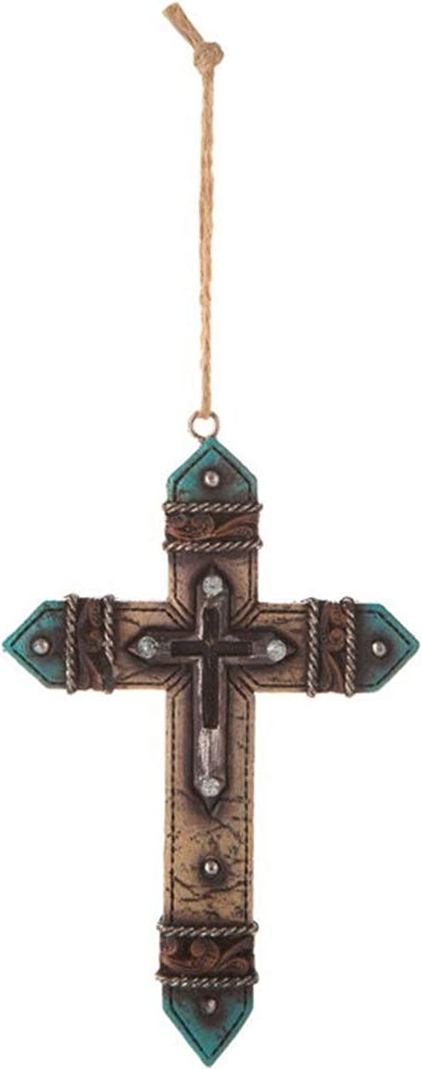 S&C Western Rustic Double Cross Ornament, Religious Gifts for Horseback Riders Cowboys Men, Horse Ranch Decor