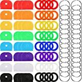 64 Pieces Key Caps Covers Kit, Plastic Key Identifier Rings in 8 Different Colors with 32 Pieces Steel Key Rings for Keys Organization