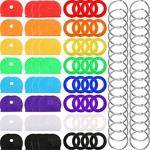 (64 Pieces Key Caps Covers Kit, Plastic Key Identifier Rings in 8 Different Colors with 32 Pieces Steel Key Rings for Keys Organization)