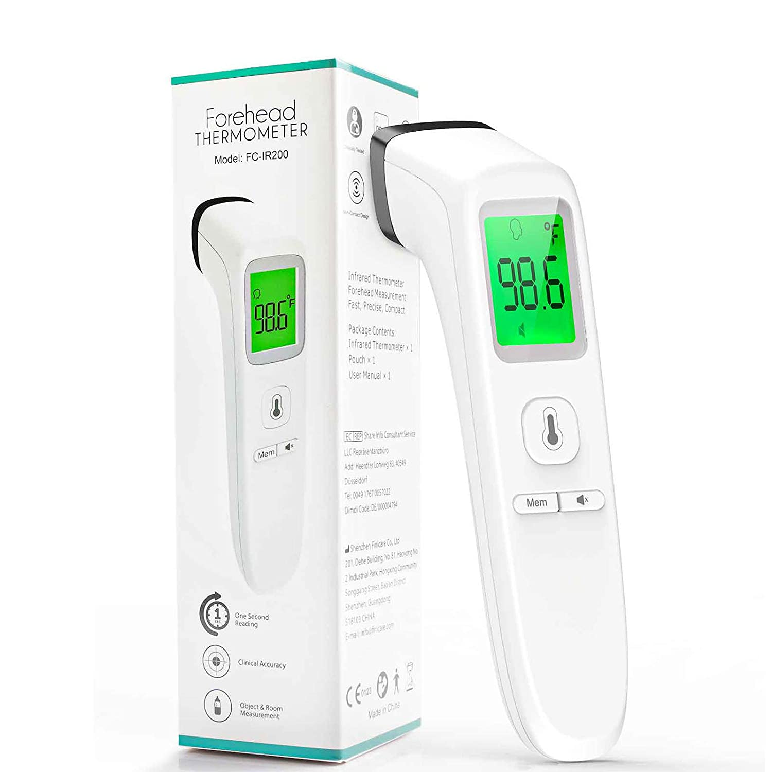 Forehead Thermometer Instant Reading Temperature Measurement Device for Baby Kids and Adults Indoor and Outdoor Non-Contact Infrared Digital Thermometer