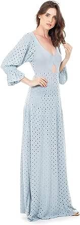 Vestido Longo de Tricô Tricot Bella Store Rodado com Manga Bufante Feminino