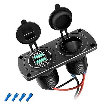 SONRU Doble QC3.0 USB Impermeable Cargador, Mechero Toma y Puerto USB, Encendedor Enchufe Panel con LED, para 12~24V Moto Barco Coche
