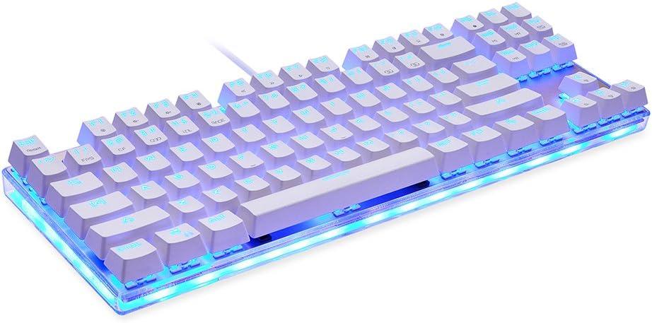 Docooler MOTOSPEED K87S Teclado mecánico para Juegos Teclado USB con Cable RGB Personalizado LED Retroiluminado con 87 Teclas( Blanco + Interruptor ...