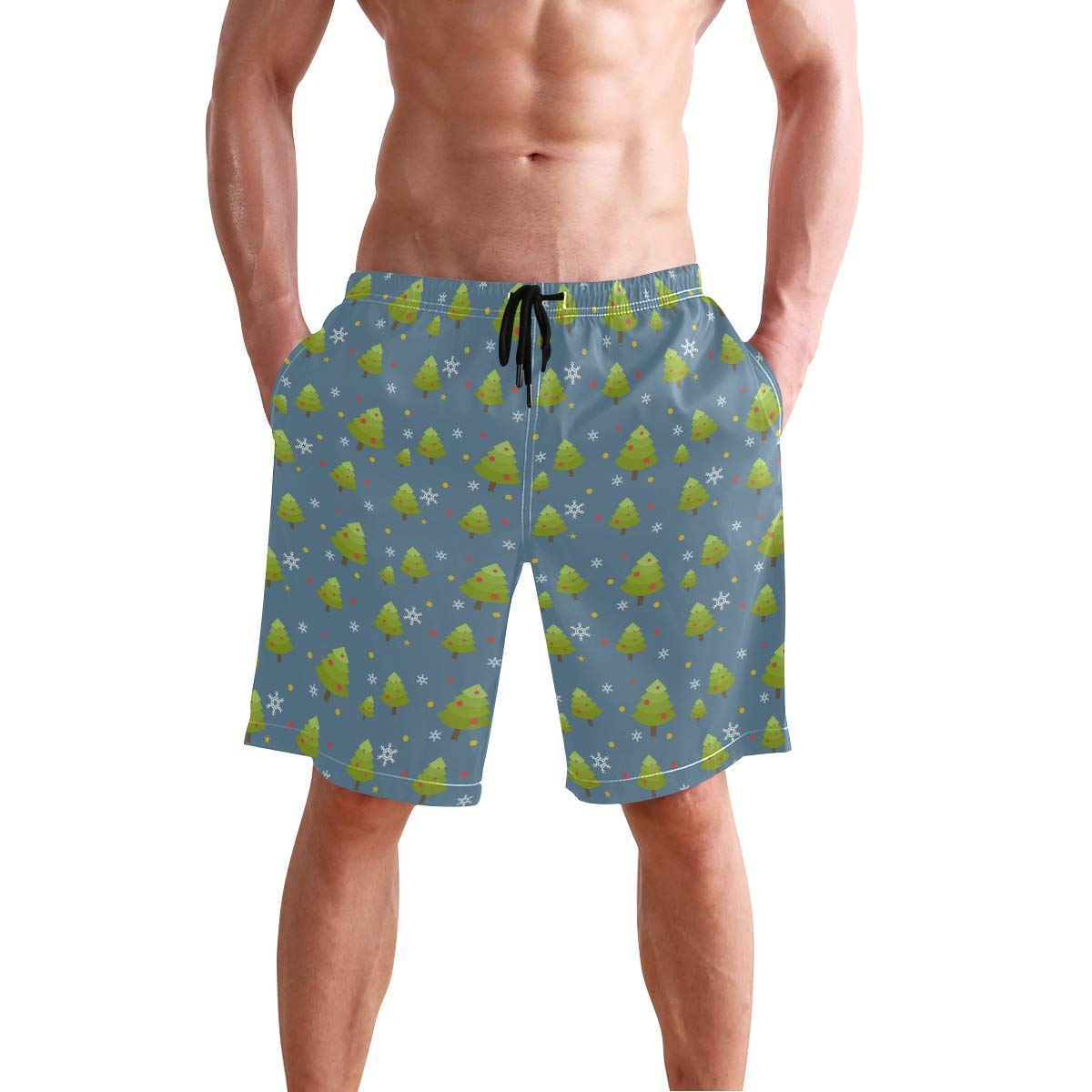JECERY Mens Swim Trunks Merry Christmas Trees Pattern Quick Dry Board Shorts with Drawstring and Pockets