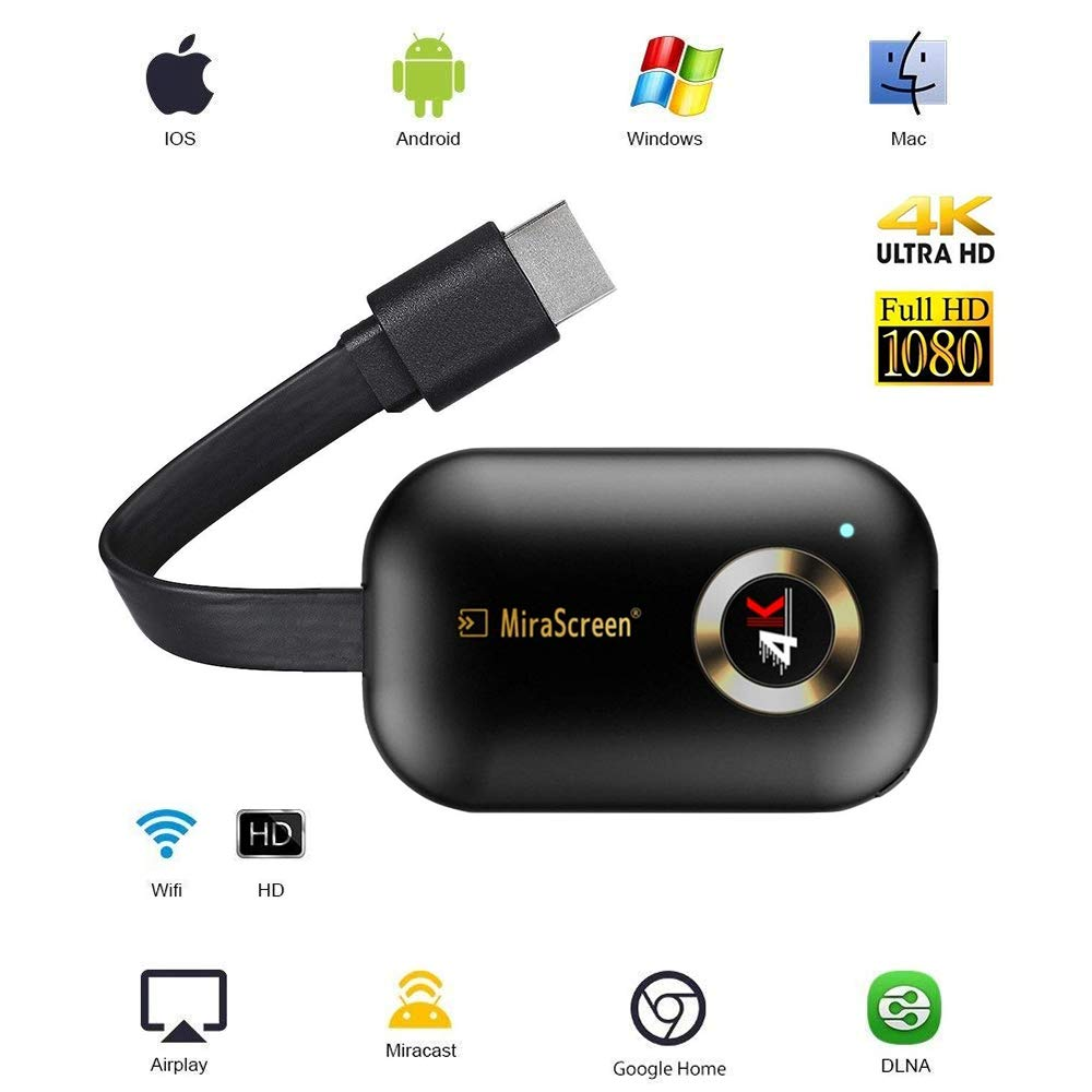 4K HDMI Wireless Display Receiver HD, Portable TV Display Adapter Airplay DLNA TV Stick for Android/Mac/iOS, Mini WiFi Display Receiver Share 1080P HD Video Audio/Picture/Live Camera/Music fro by RONGZENG