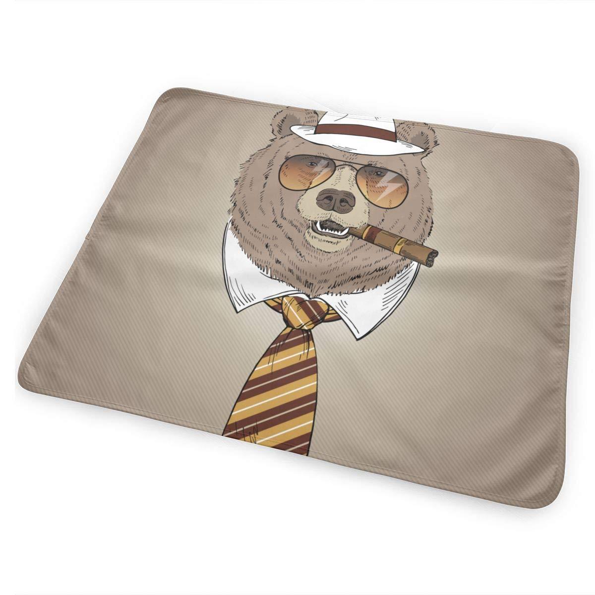 Retrato de oso con sombrero Fedora, corbata, gafas de sol y ...