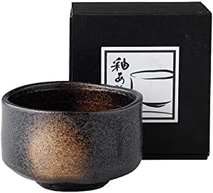 Black Sandblasted Matcha Bowl Ochawan by Alenet Traditional Ceramics Made in Japan
