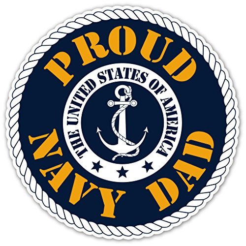 (Proud Navy Dad - US Armed Forces Millitary Dad Bumper Sticker Decal 5x5 in )