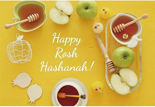 Happy Rosh Hashanah Backdrop 10x6.5ft Jewish Holiday Yellow Photography Background Honey Apple Shofar Prayer Shawl Wooden Table Celebrate Judaism New Year Photo Prop Studio Decor Wallpaper