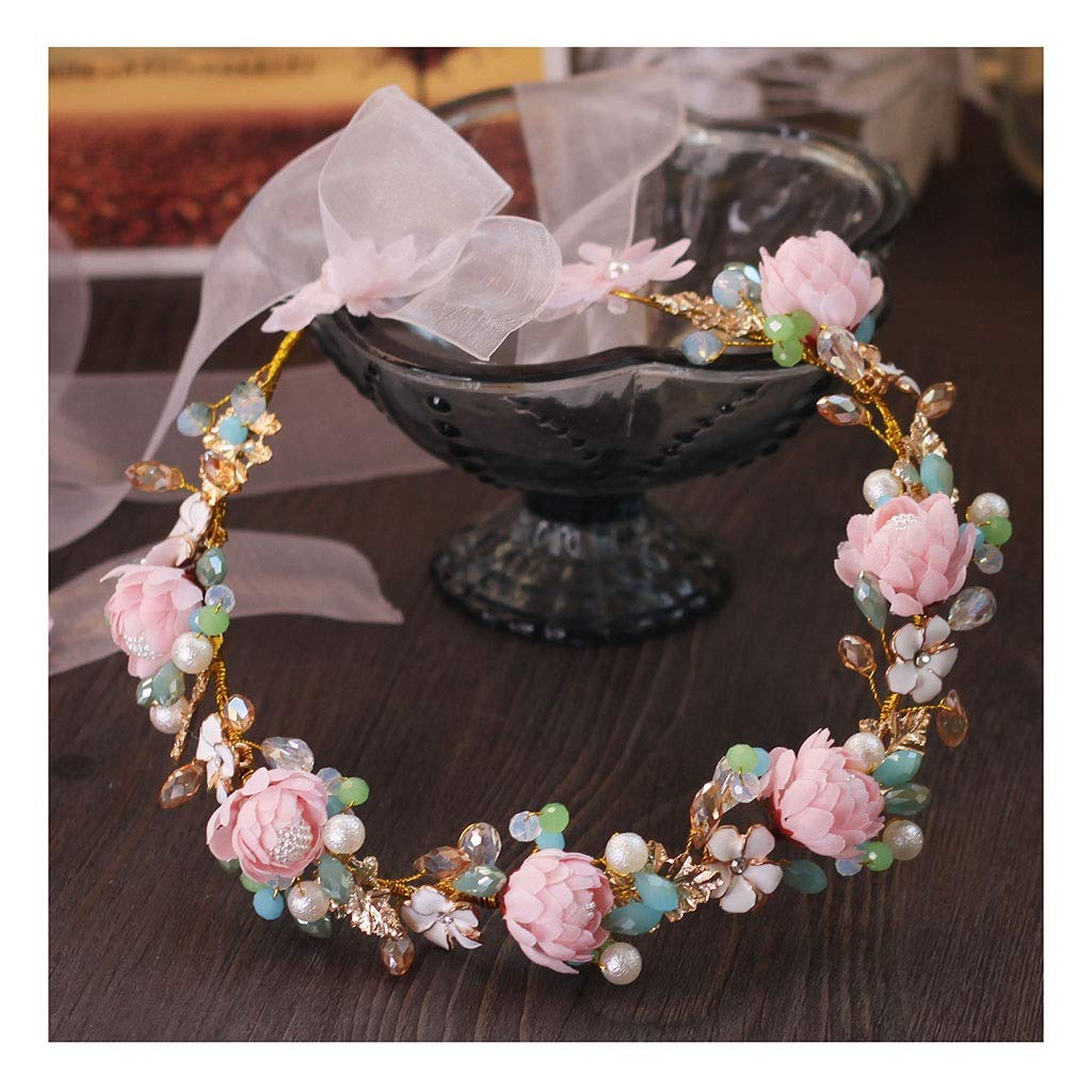 Wreath Flower Sweet Bride Headdress Pink Flower Soft Headband Wedding Accessories (Color : A, Size : 33cm)