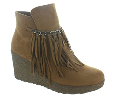 Womens Candy-1 Wedge Fringe Ankle Bootie