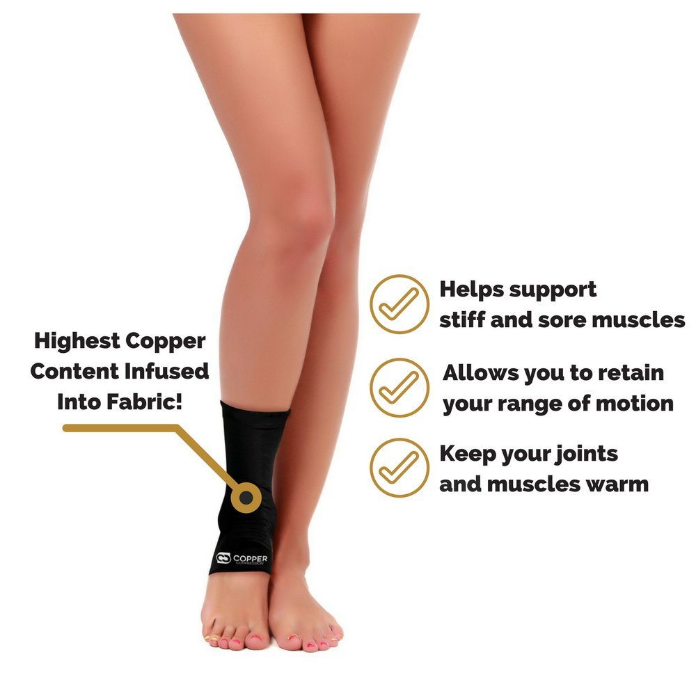 Copper Compression Recovery Ankle Sleeve - GUARANTEED Highest Copper Content #1 Infused Fit Ankle Brace/Wrap/Sock/Stabilizer For Men And Women. Wear To Support Stiff And Sore Muscles And Joints by Copper Compression (Image #7)