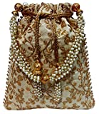 Wedding Women Purse Party Designer Bridal Clutch/Jewelry Pouch/Indian Evening Potli Handbag (10 x 8 x 1.75 inches, Beige)