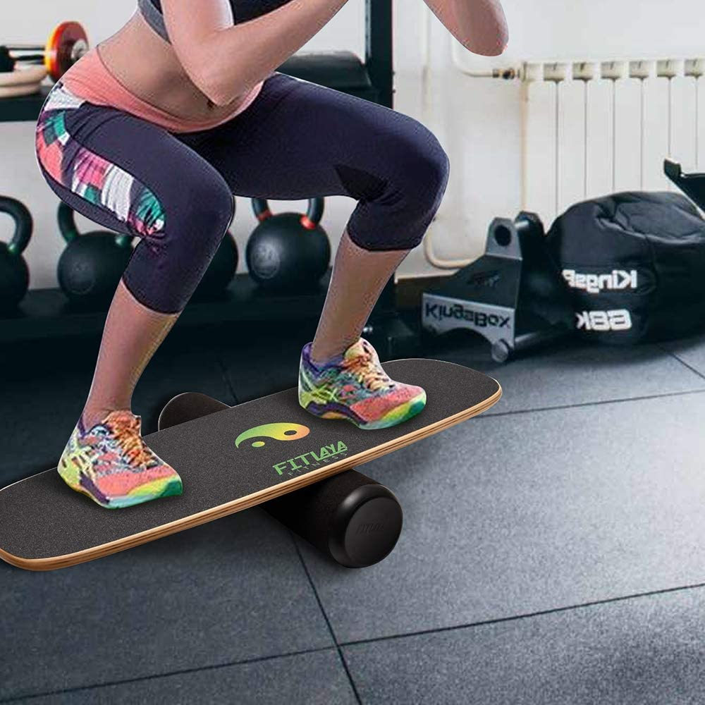 Fitlaya Fitness Balance Board Trainer Wooden Training Equipment for Fitness Workout, Hockey, Skateboarding, Surfing and Snowboarding (Ying YANG) : Sports & Outdoors