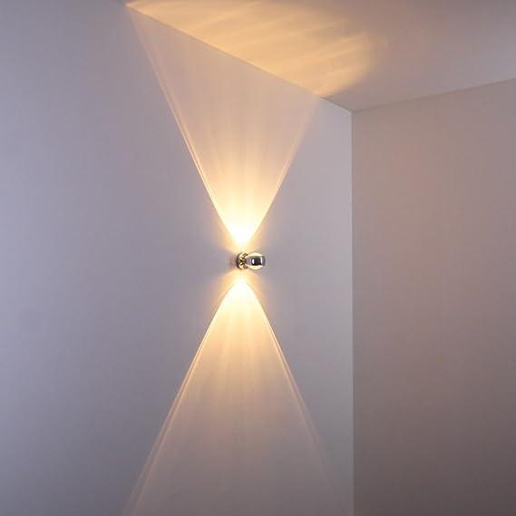 Moderne Halbrunde Lampe Für Die Wand   Verchromter Raumfluter Aus Metall  Mit Glas Linsen   Indirektes Licht In Form Von Zwei Lichtkegeln   LED Oder  ...