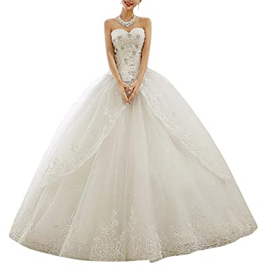 Strapless Diamonds Lace Ball Gown Long Train Wedding Dresses Bride Ivory US 2