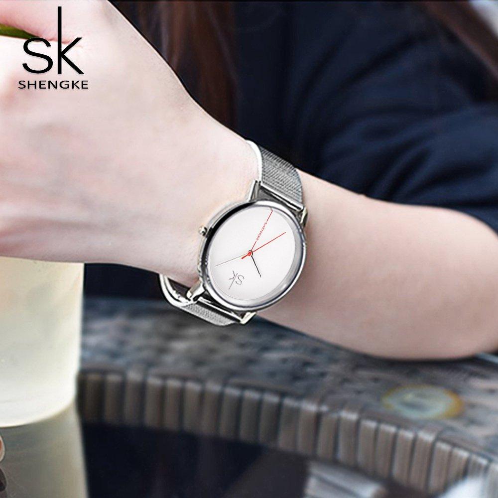 Amazon.com: Shengke Fashion Black Women Watches 2017 Ultra Thin Quartz Watch Woman Elegant Dress Ladies Watch Montre Femme SK (Sliver case&mesh Band): ...