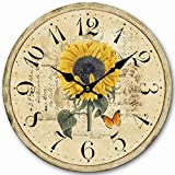 "14"" Decorative Clock, Eruner Wooden [Sunflower] Cafe Bar Lancaster Paris Wall Clock Retro Styled Non-Ticking Home Decor (HQ5, 14-IN)"