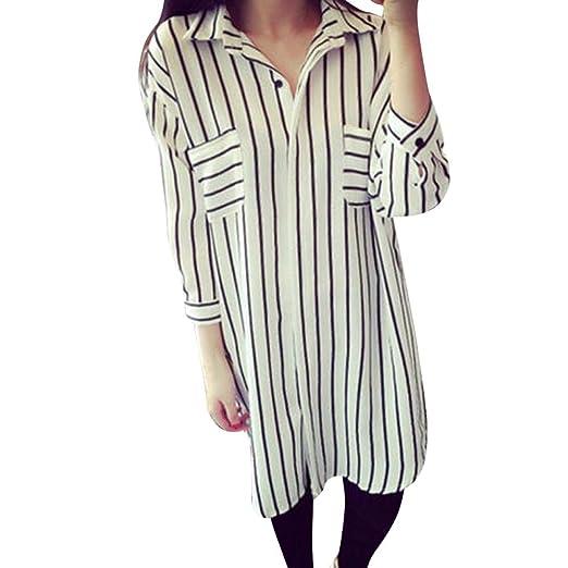 3f8cbaf8d94 Amazon.com  Koolee Tops Women s 3 4 Sleeve Button V Neck Button Up Shirt  Casual Stripes Long Blouse Tunic Shirt Dress  Clothing