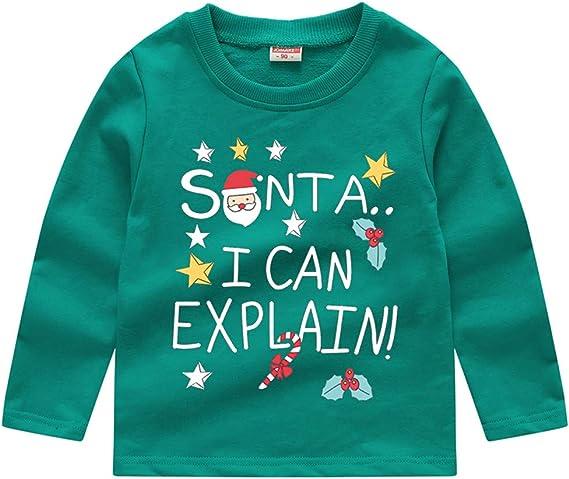 Toddler Kids Long Sleeve T-Shirt Pullover Baby Boy Girl Christmas Tops Tees