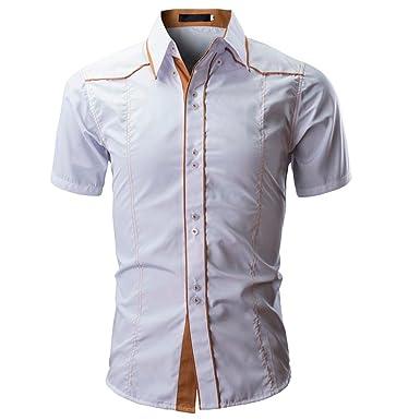 7f069378934a9 POachers Homme Chemise Slim Fit Manche Courte Couleur Unie Ete Chemises  pour Hommes Chic Mince Casual