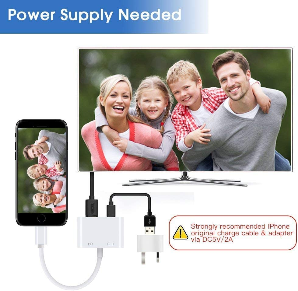 SJ-HYNG Compatible with iPhone to HDMI Adapter Digital AV Adapter 1080p HD TV Connector Cable Compatible with iPhone 11 Pro Xs Max XR X 8 7 6S Plus iPad Mini Pro to TV Projector Monitor