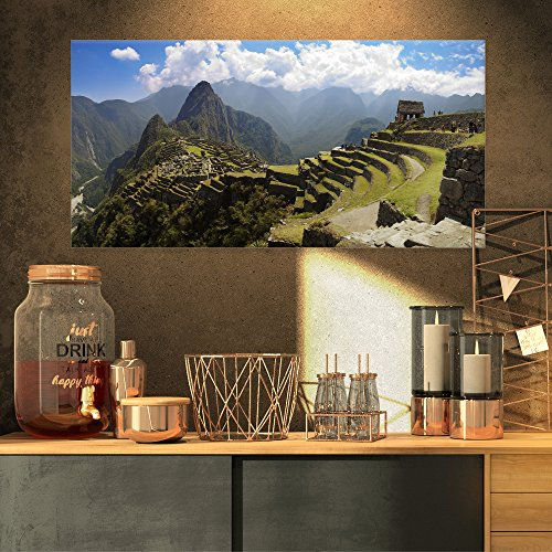 Designart Machu Picchu Panorama-Landscape Photo Canvas Art Print-32x16, 32x16 Green