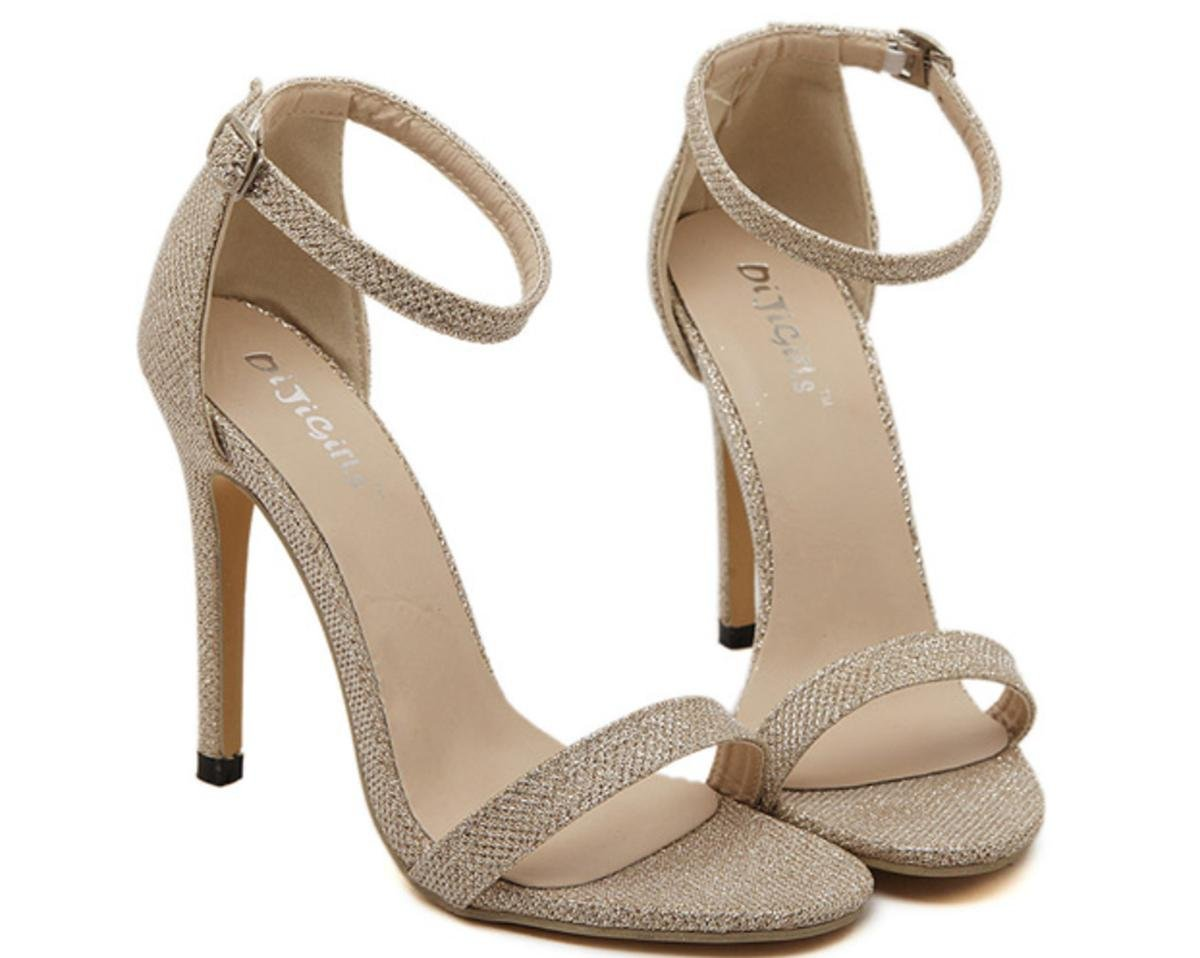 XDGG Frauen 35-43 große römische Schuhe High Heels Sandalen Einzelschuh Casual Schuhe  Gold  38