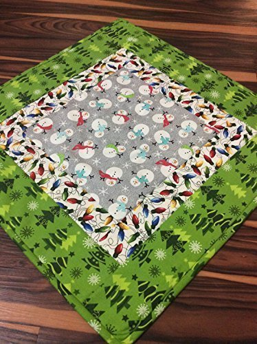 Snowman Christmas Table Topper Centerpiece Table Runner End Table Decor with Novelty Christmas Trees and Lights Red Green