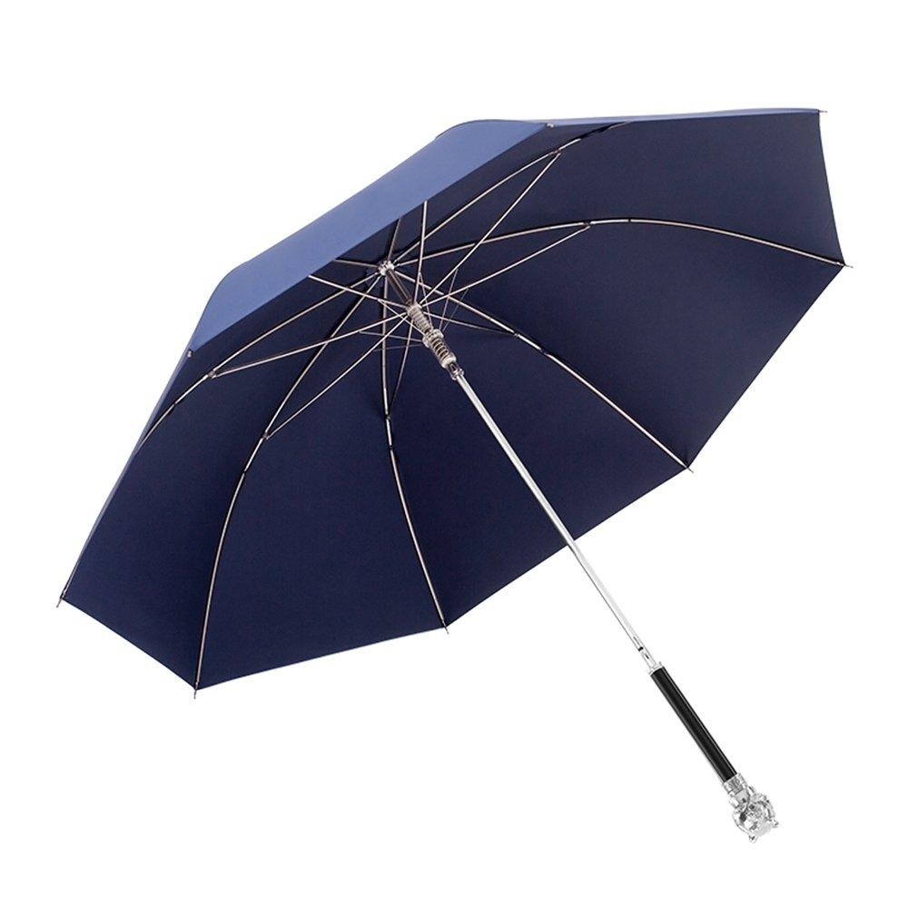 QFFL yusanjia 創造性ヒョウの頭/ロングハンドルの傘/シンプルな純粋な男性のパーソナリティコマースのパラソル/デュアルユースの高級サンの傘 屋外傘立て ( 色 : Dark-Blue , サイズ さいず : B ) B07CJ863NQ B|Dark-Blue Dark-Blue B