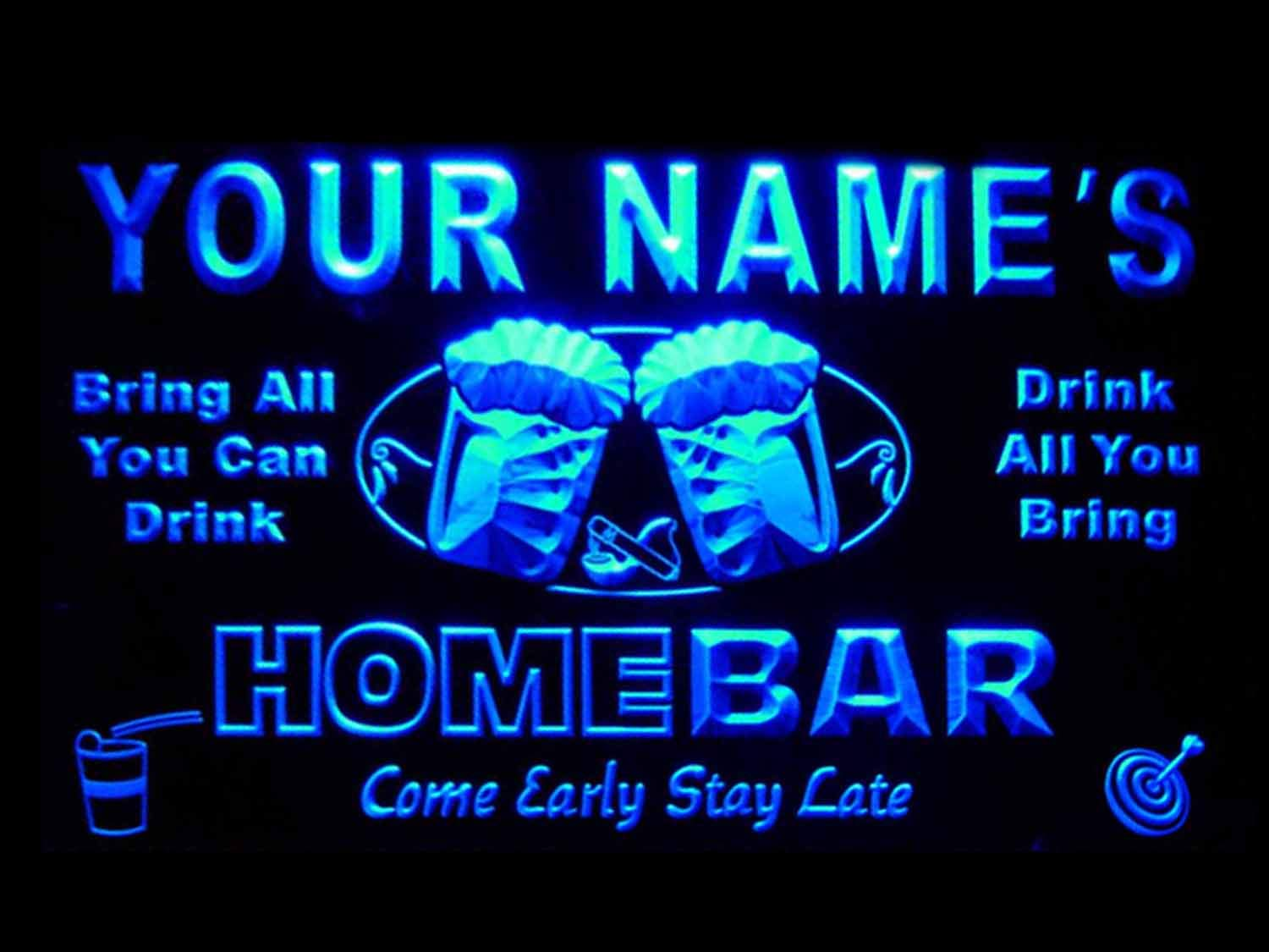 p-tm-b Name Personalized Custom Home Bar Beer Neon Light Sign Blue 16'' x 12''