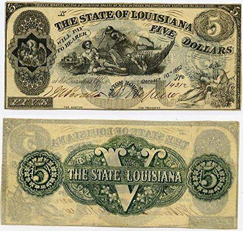 1862 SOUTH STRIKES UNION! DRAMATIC CONFEDERATE BATON ROUGE LOUSIANA GREENBACK $5! HISTORIC CIVIL WAR CURRENCY $5 VF-XF