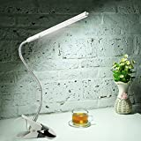 Topwell LED Eye-Care Clip Desk Lamp,Flexible Sturdy Gooseneck Desk Light,3 Modes Dimmable Table Lamp,6W,360°USB Light+a Adapter(Included),for Reading,Study,in College,Domitory,Bedroom(White)