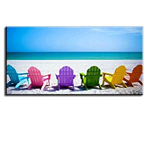 """Beach Canvas Wall Art for Living Room, PIY Blue Sea with Colorful Chairs Picture Prints Decor, Relax Leisure Time Home Decorations (1"""" Thick Frame, Waterproof, Bracket Mounted Ready Hanging)"""