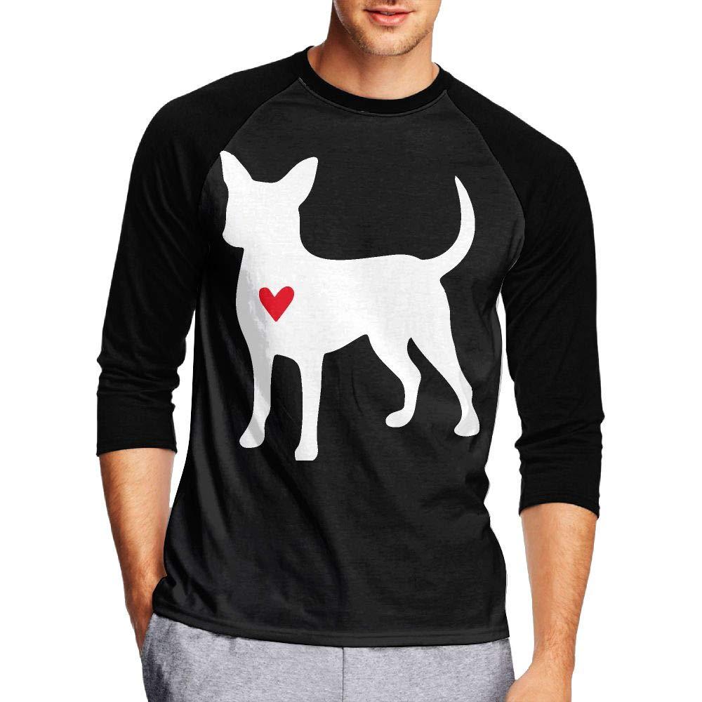KI70CNY/&0 Mens 3//4 Sleeve Crew Neck Tshirts Chihuahua Dog Heart-1 Raglan Baseball Sports Blouses Tops and Shirts