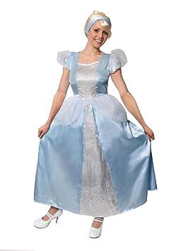 ILOVEFANCYDRESS - Disfraz de Cenicienta para mujer, color azul Bonito vestido de satén azul con