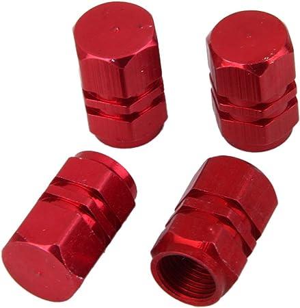 Magideal 4x Ventilhülsen Kappen Für Lkw Und Pkw Reifen Aus Aluminium Rot Auto