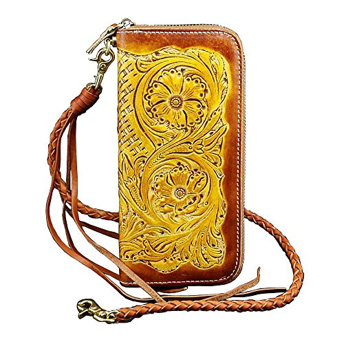 Carved Biker Motorcycle Mens Wallet With Leather Vintage Flower Chain Genuine 5SYqap