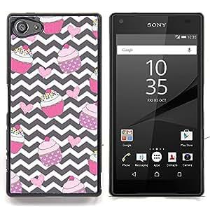 """For Sony Xperia Z5 Compact Z5 Mini (Not for Normal Z5) Case , Chevron Magdalena Negro Blanco Rosa Dulce"""" - Diseño Patrón Teléfono Caso Cubierta Case Bumper Duro Protección Case Cover Funda"""