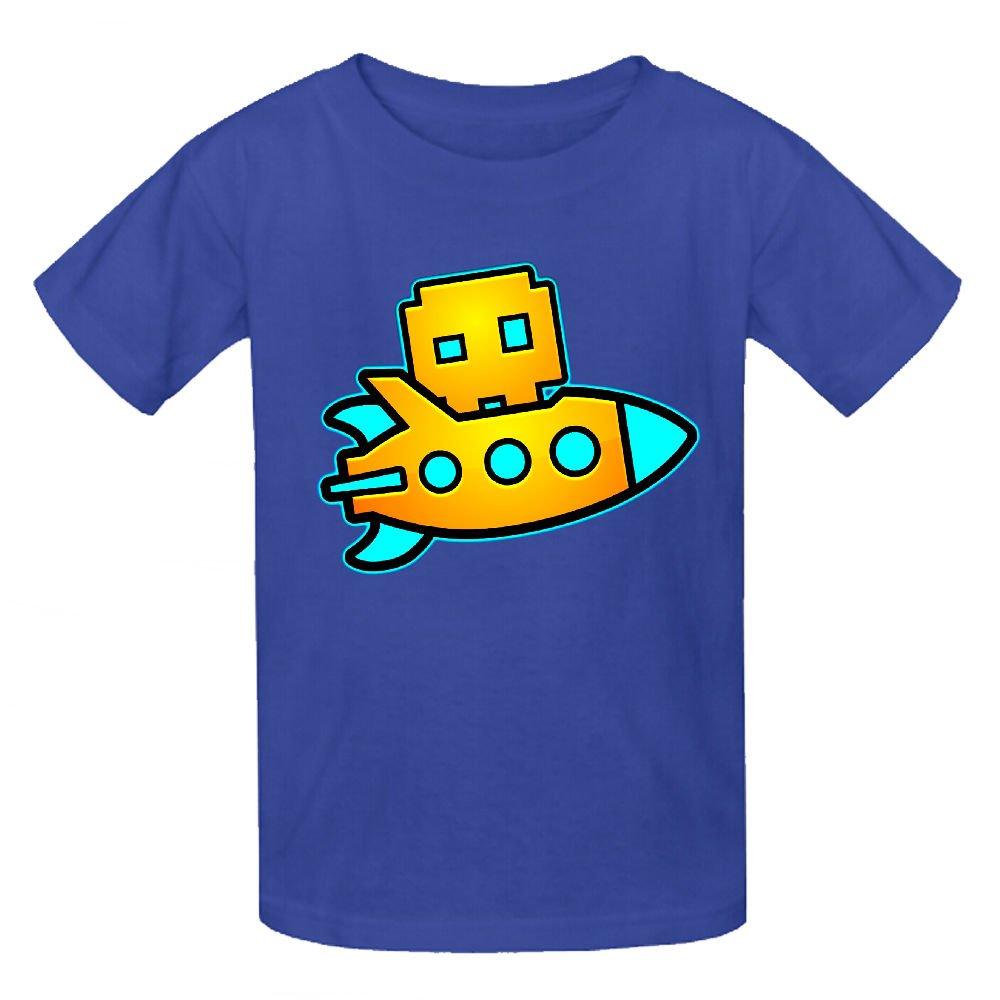 Toypop Geometry Dash Artwork Kids Cotton Round Collar Short Sleeve Customized