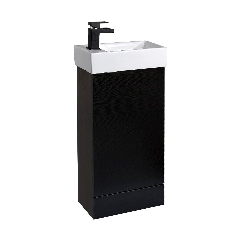 ENKI Lavabo con mobile per bagno Miscelatore monocomando quercia nero B-BF002DO-IMDSW085BL/2-C144