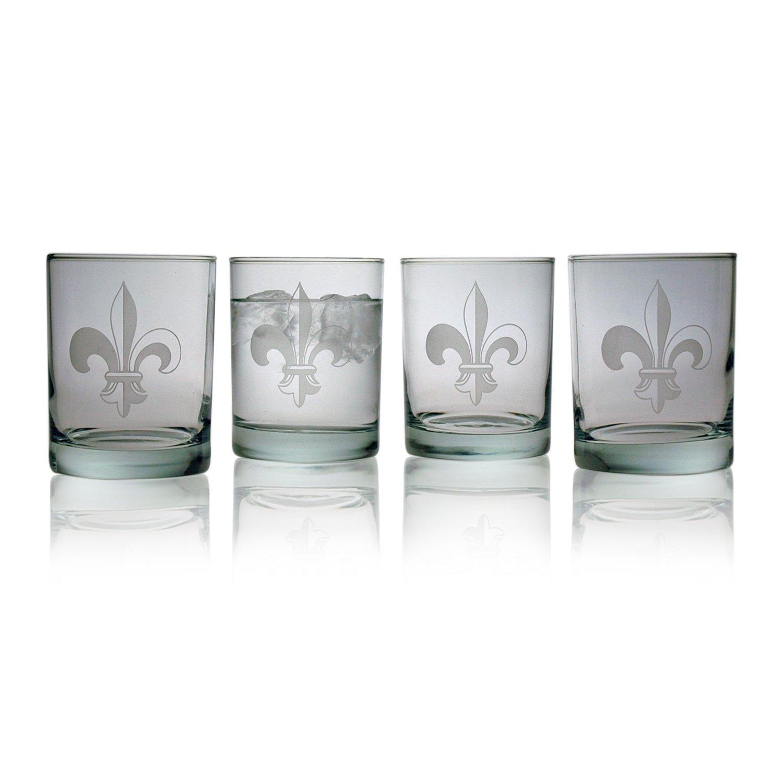Susquehanna Glass Fleur De Lis Sand Etched Rocks Glasses, Set of 4, 14 ounces