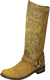 """product image for Abilene Women's Rawhide by 12"""" Tall Side Zipper Harness Boot Round Toe"""