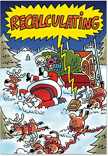 12 'Recalculating Boxed Christmas' Hilarious Greeting Cards with Envelopes 4.63 x 6.75 inch Happy Holiday Note Cards with Funny Santa and Reindeer Cartoon, Stationery for Xmas, Parties, Gifts B5759