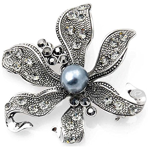Pearl Brooch Pendant (Vintage Style Black Flower Pearl Pin Brooch and Pendant)